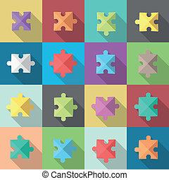Multiple puzzle pieces set - Multiple flat style puzzle...
