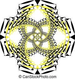 multiple, résumé, jaune, noir, perspective, arabesque, infini, escalier