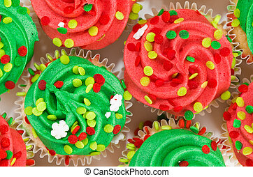 Red and Green Cupcakes