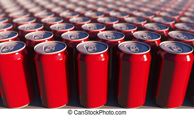 Multiple red cans at sunset, shallow focus. Soft drinks or beer for party. Recycling packaging. 4K seamless loop dolly clip, ProRes