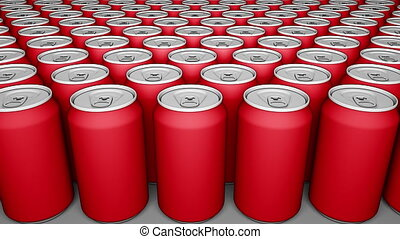 Multiple red cans. Soft drinks or beer production. Recycling packaging. 4K seamless loop dolly clip, cartoon animation