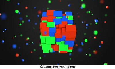 Multiple red, green and blue cubes rotating. RGB color model...