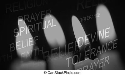 Animation of words Religion, Spiritual, Belief, Tolerance over candles being blown off. Religion faith tradition nature concept digitally generated image.