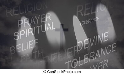 Animation of words Religion, Spiritual, Belief, Tolerance over Christian cross and candles being blown off. Religion faith tradition nature concept digitally generated image.