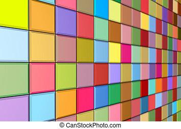 multiple, render, couleur, mur, trottoir, carrelé, mosaïque, 3d