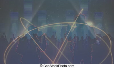 Multiple rings spinning over silhouette of people dancing against music equalizer