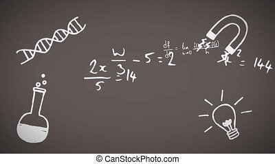 Digital animation of Multiple school concept icons and mathematical equations against black board. Education and school concept