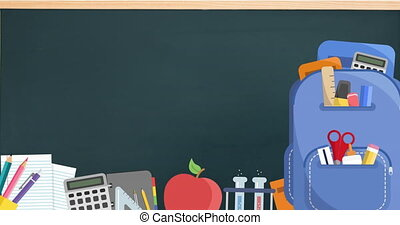 Digital animation of blue backpack and multiple school concept icons moving against blackboard