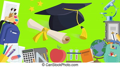 Digital animation of graduation cap and diploma icon and multiple school concept icons moving against green background