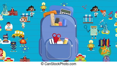 Digital animation of backpack and multiple school concept icons moving over white lined paper against blue background