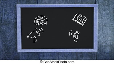 Digital animation of megaphone, book and ear icon on blackboard against grey wooden background