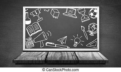Digital animation of multiple school concept icons on black board against grey wooden background. Education and school concept