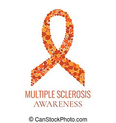 Vector illustration of an orange ribbon made of dots on white background. Multiple sclerosis ribbon symbol. Medical concept.
