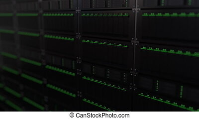 Multiple server racks, shallow focus. Loopable animation -...