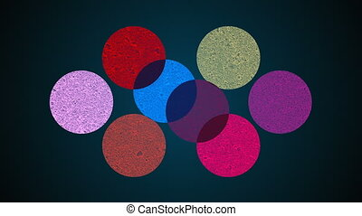 Multiple shape circles, mixing of different colors, searchlight effect, 3d rendering background, computer generated backdrop