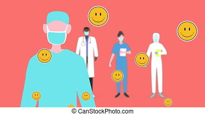 Animation of multiple heart eyes face emojis floating against health workers wearing face masks on orange. Global coronavirus Covid 19 pandemic concept digitally generated image.