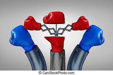 Multiple strategy and financial diversification to reduce risk in investing with different competing directions as an open red boxing glove with two emerging hidden gloves with opposite paths as two pronged plan business metaphor to increase sucess odds.