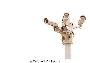Multiple surveillance cameras on blue sky
