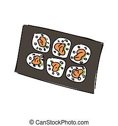 Multiple sushi rolls on white background