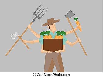 Multiple-tasking Busy Farmer Carton Character Vector...