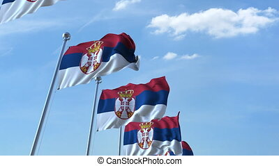 Multiple waving flags of Serbia against the blue sky -...