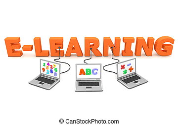 three laptops with different letters, numbers and symbols on the screen are connected to the orange 3D letters E-LEARNING