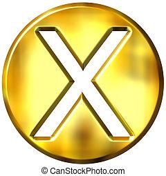 multiplicación, dorado, símbolo, 3d, encuadrado