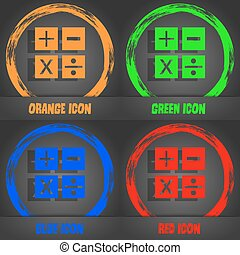 Multiplication, division, plus, minus icon Math symbol Mathematics. Fashionable modern style. In the orange, green, blue, red design. Vector