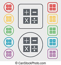 Multiplication, division, plus, minus icon Math symbol Mathematics. Symbols on the Round and square buttons with frame. Vector