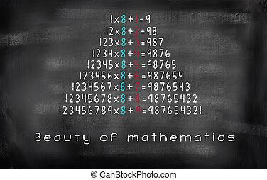 multiplication equation Beauty of mathematics on blackboard