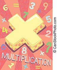 multiplication, symbole, conception, math