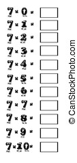 Multiplication table of 7.