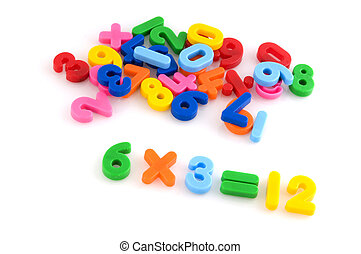 multiply with colorful number from plastic