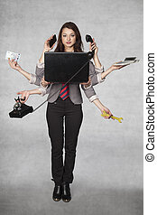 multipurpose business woman on the grey background