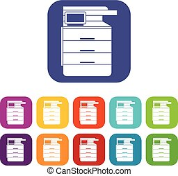Multipurpose device, fax, copier and scanner icons set...