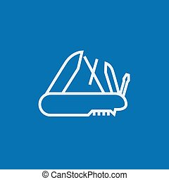Multipurpose knife line icon. - Multipurpose knife thick...