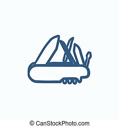Multipurpose knife sketch icon. - Multipurpose knife vector...