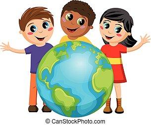 multiracial, aarde, geitjes, kinderen, vrijstaand