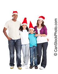 multiracial, boże narodzenie, rodzina, szczęśliwy