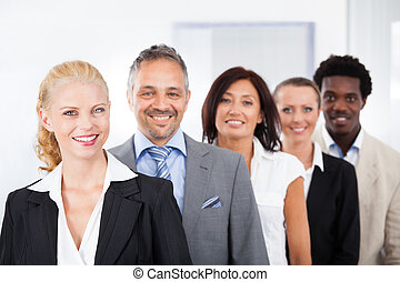 multiracial, businesspeople, feliz