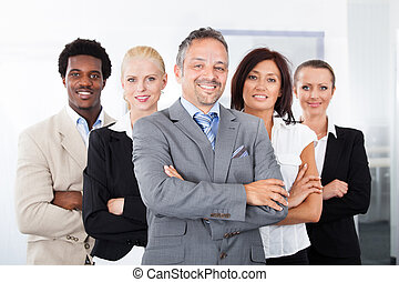 multiracial, businesspeople, feliz