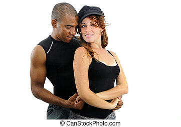 Multiracial couple in dancing pose