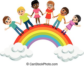 multiracial, crianças, crianças, mãos dadas, ficar, arco...