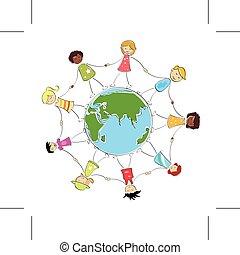 multiracial, crianças, segurar passa