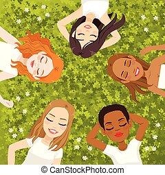 multiracial, descansar, mulheres