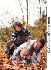 multiracial, divertimento, tendo, família