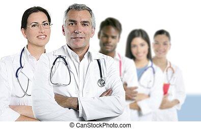 multiracial, doctor, equipo, fila, pericia, enfermera
