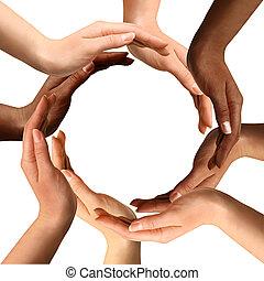 multiracial, elaboración, círculo, manos