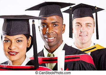 multiracial, estudantes, universidade, graduação