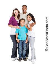 multiracial, família, feliz